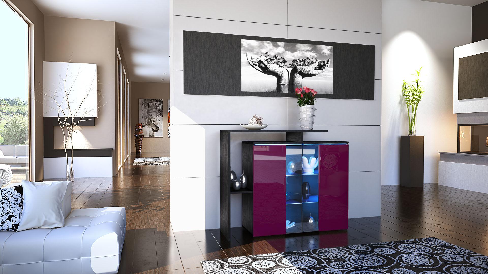kommode schrank anrichte sideboard lissabon in schwarz hochglanz naturt ne ebay. Black Bedroom Furniture Sets. Home Design Ideas