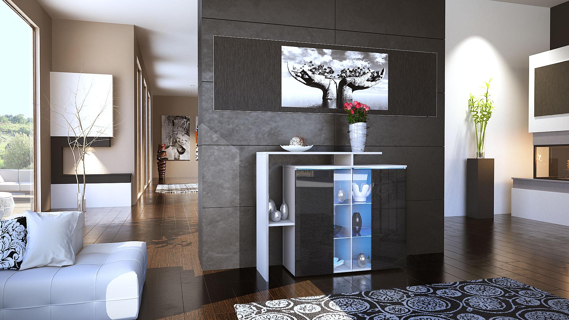 kommode schrank anrichte sideboard lissabon in wei. Black Bedroom Furniture Sets. Home Design Ideas