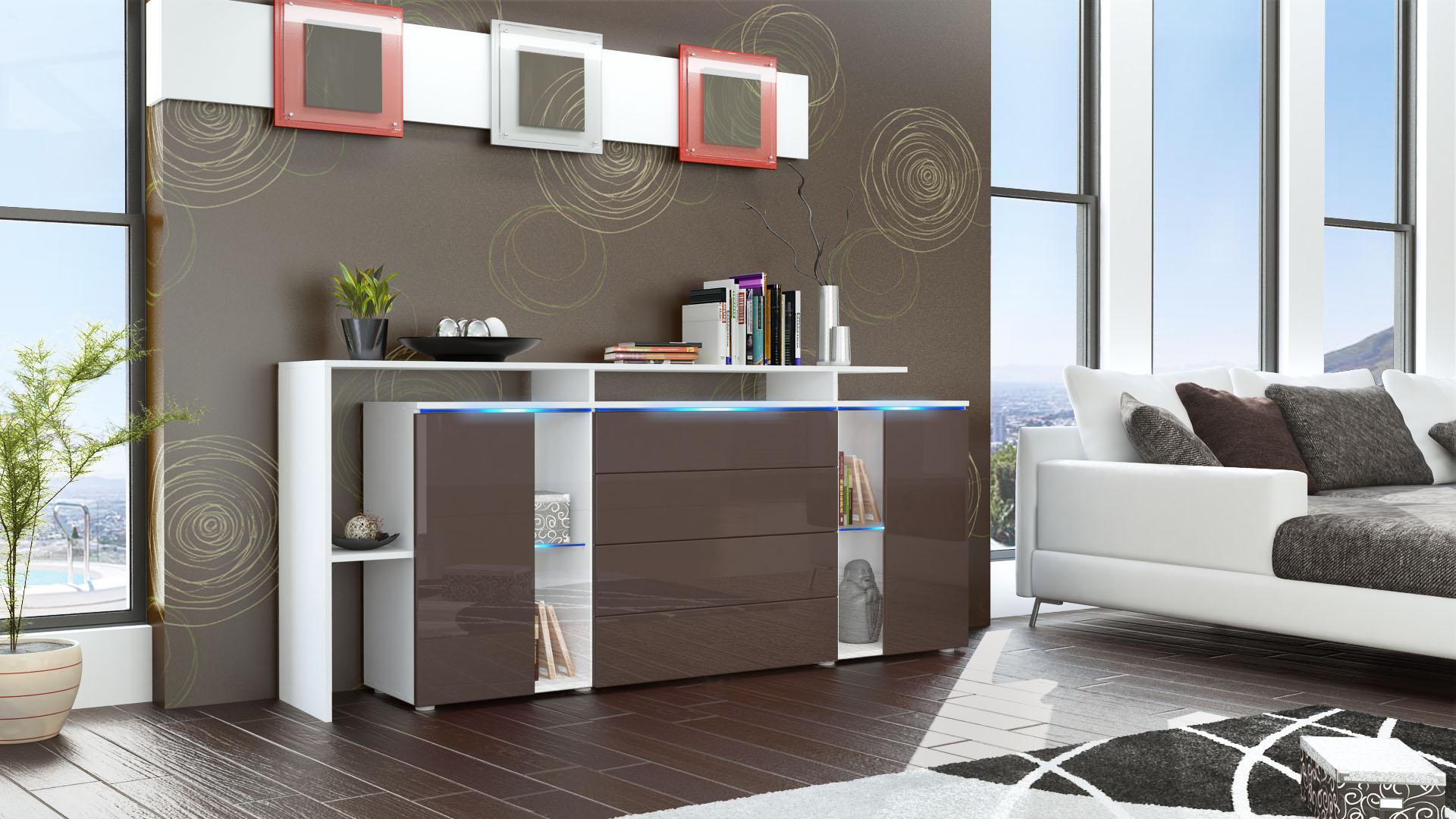 Sideboard Cabinet LED Lissabon V2 White matt High Gloss& Natural Tones eBay