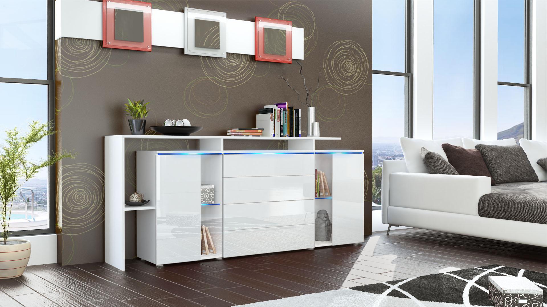 sideboard cabinet led lissabon v2 white matt high gloss natural tones ebay. Black Bedroom Furniture Sets. Home Design Ideas