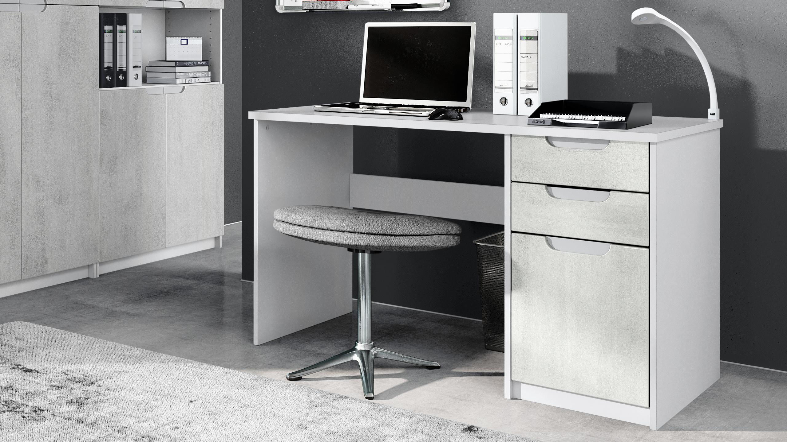 Schreibtisch Computertisch Büromöbel Logan Weiß - Hochglanz ...
