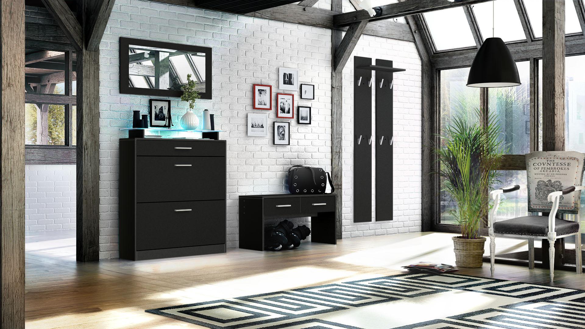 garderobenset flur garderobe diele loret in schwarz. Black Bedroom Furniture Sets. Home Design Ideas