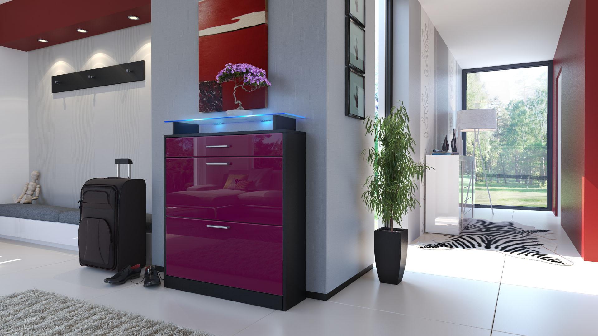 schuhschrank schuhkipper schuh regal loret schwarz hochglanz matt naturt ne ebay. Black Bedroom Furniture Sets. Home Design Ideas