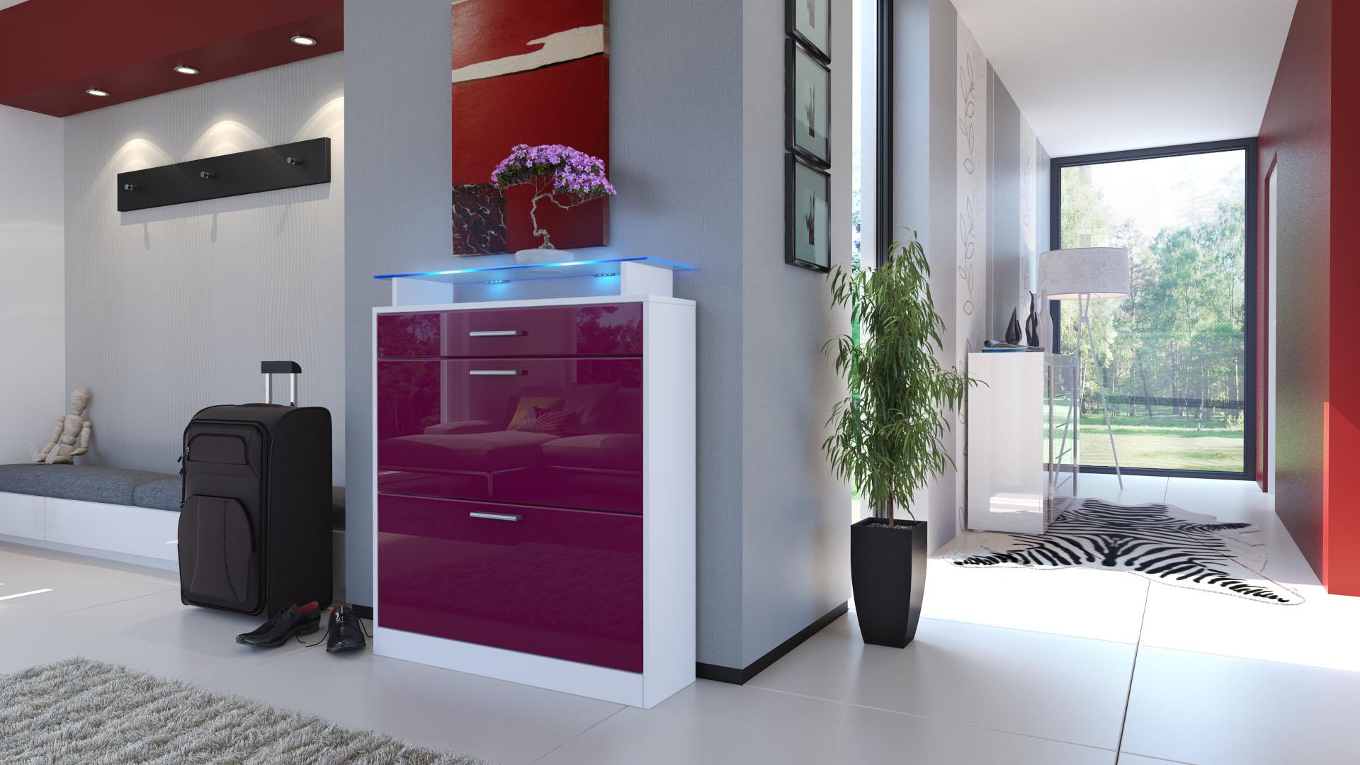 moderner schuhschrank schuhkipper loret wei hochglanzfarben matt naturt ne ebay. Black Bedroom Furniture Sets. Home Design Ideas