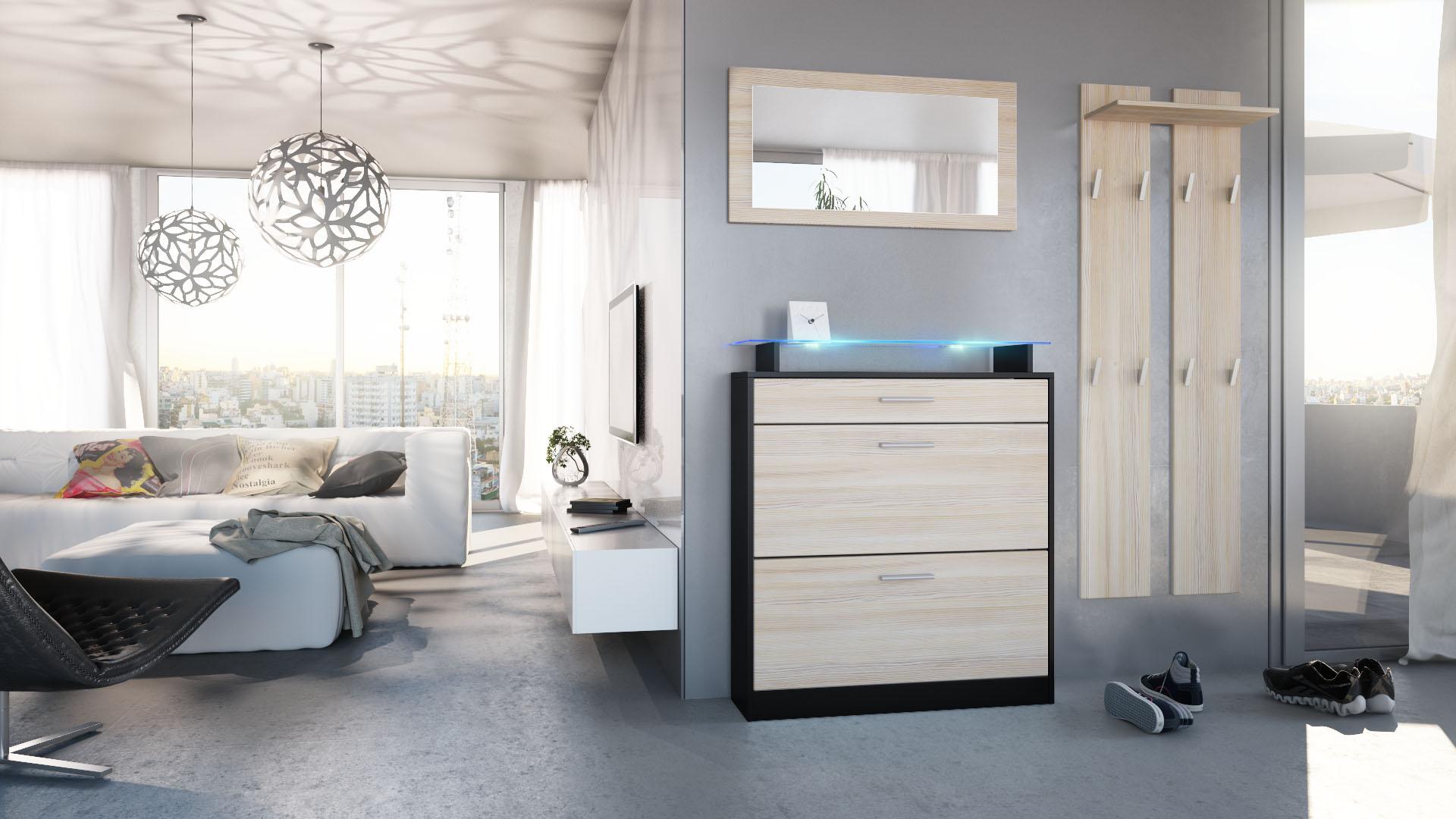 garderobenset garderobe paneel schuhschrank spiegel loret mini schwarz hochglanz ebay. Black Bedroom Furniture Sets. Home Design Ideas