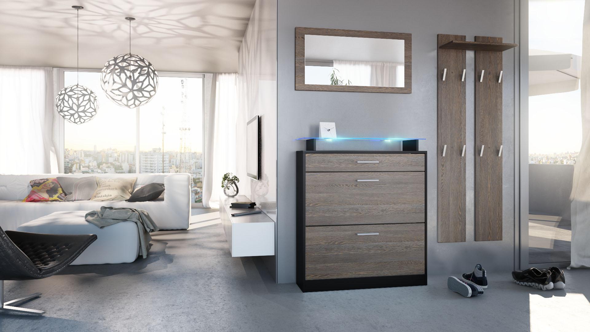 garderobenset garderobe paneel schuhschrank spiegel loret. Black Bedroom Furniture Sets. Home Design Ideas