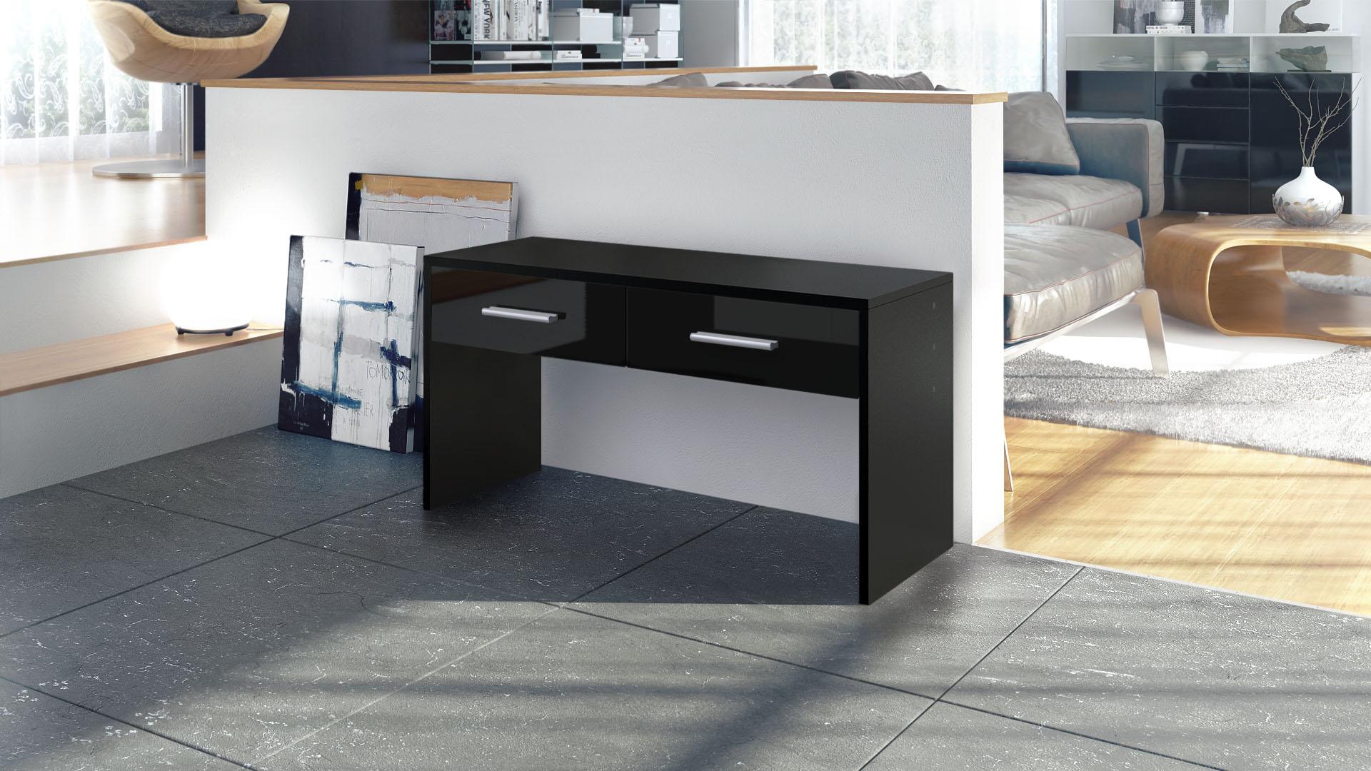 sitzbank schuhbank schemel garderobe hocker bank flurbank luna schwarz hochglanz ebay. Black Bedroom Furniture Sets. Home Design Ideas