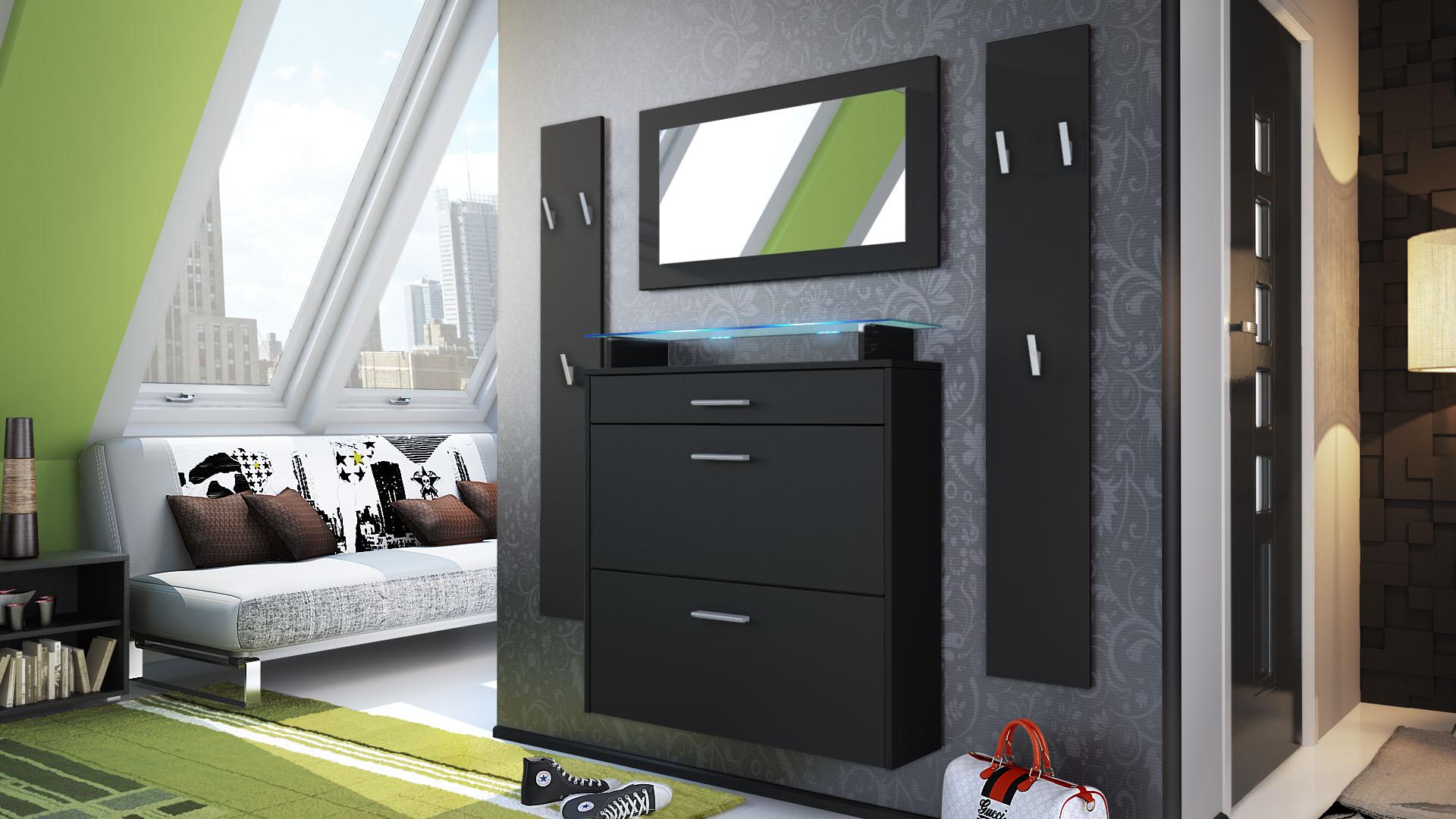 Garderobenset flur garderobe dielenset malea in schwarz for Flur garderobe glas edelstahl