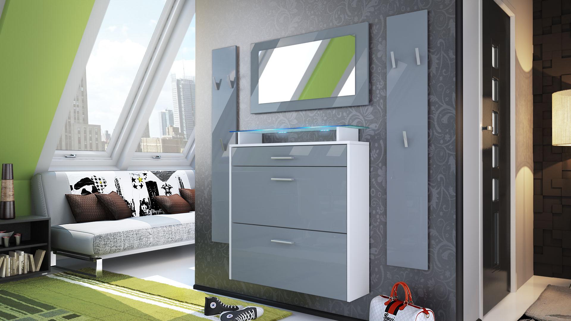 garderobenset flur garderobe diele set malea wei spiegel. Black Bedroom Furniture Sets. Home Design Ideas