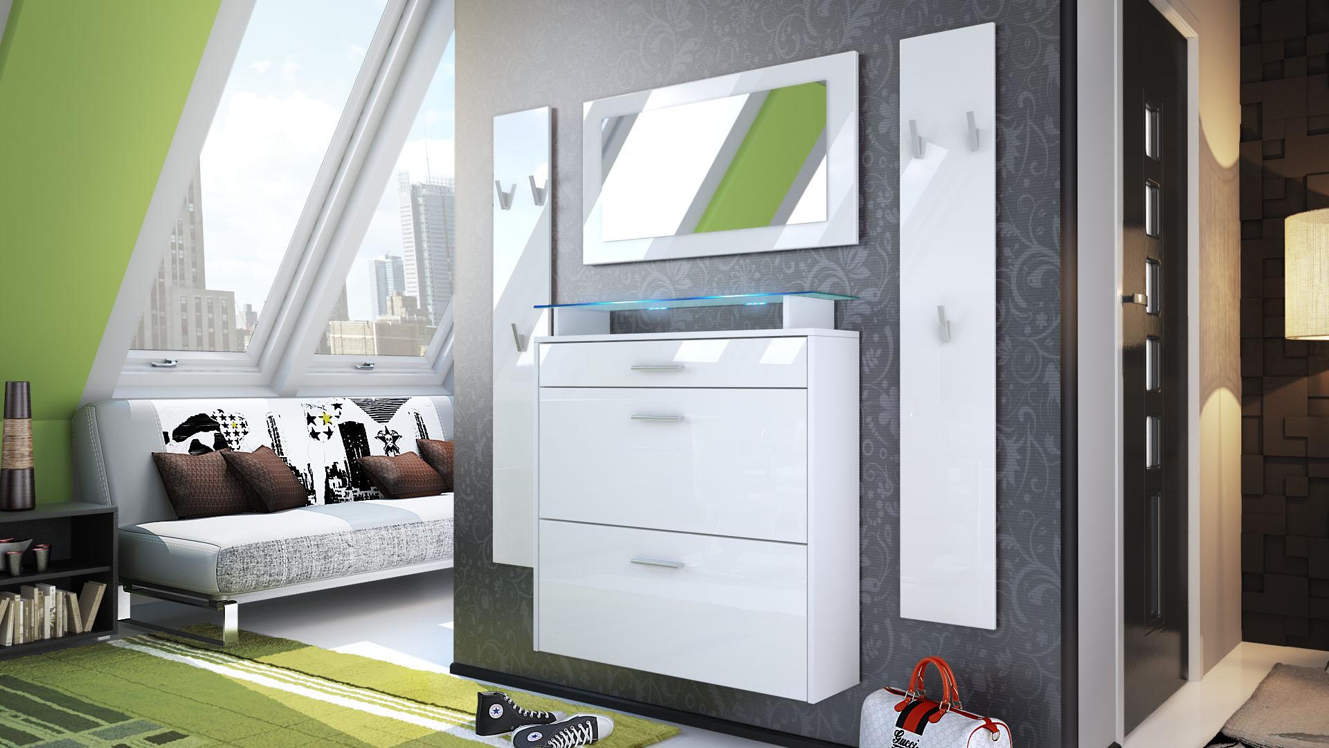 Garderobenset flur garderobe diele set malea wei spiegel for Schuhschrank ebay