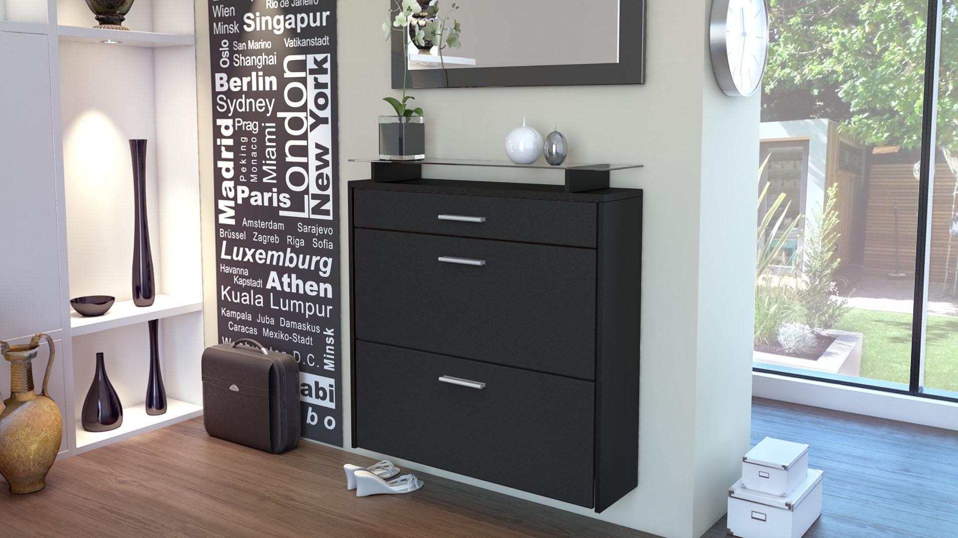 meuble chaussures rangement suspendu malea noir fa ades en coloris divers ebay. Black Bedroom Furniture Sets. Home Design Ideas