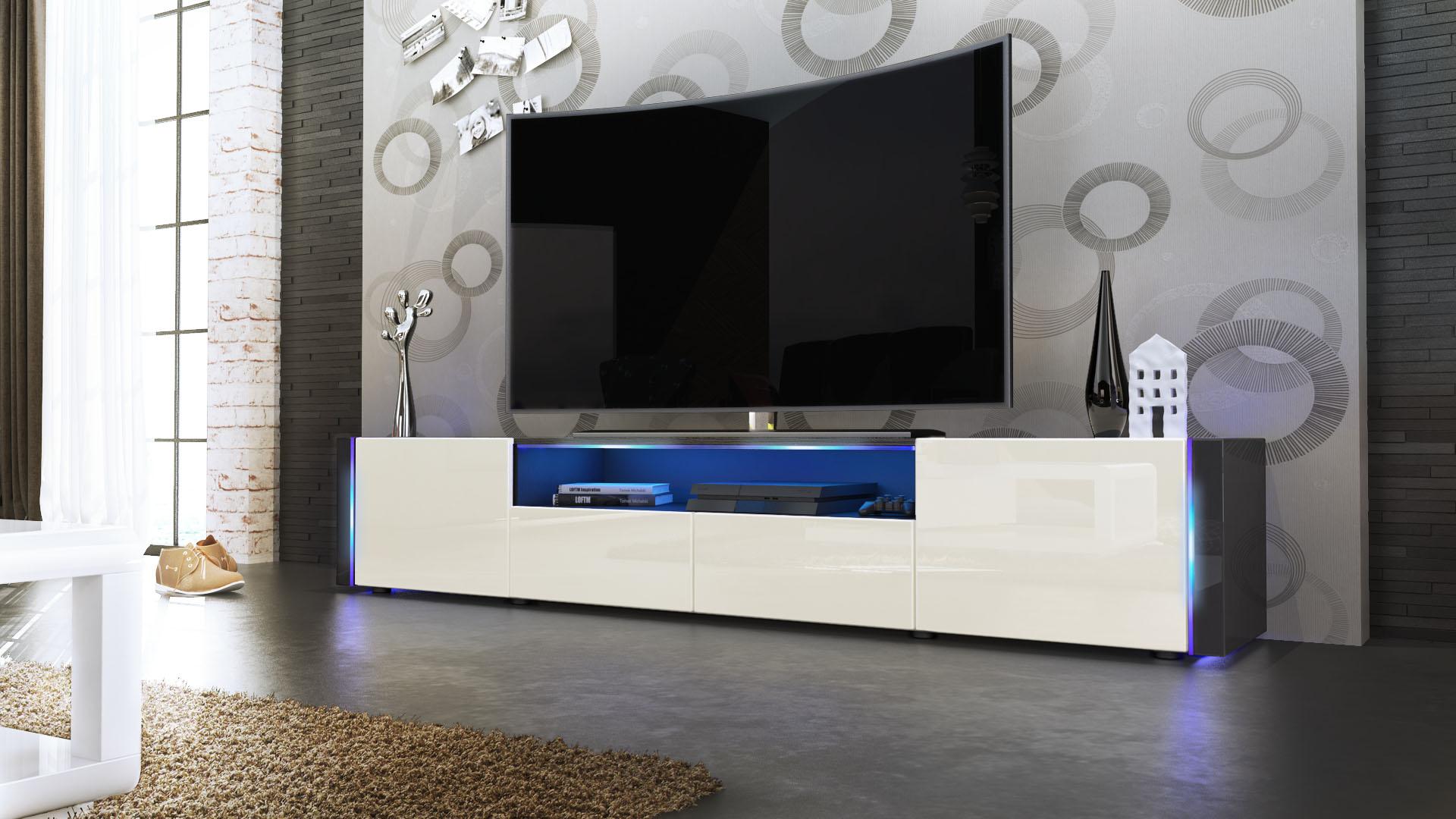 tv lowboard board schrank tisch marino v2 in schwarz. Black Bedroom Furniture Sets. Home Design Ideas