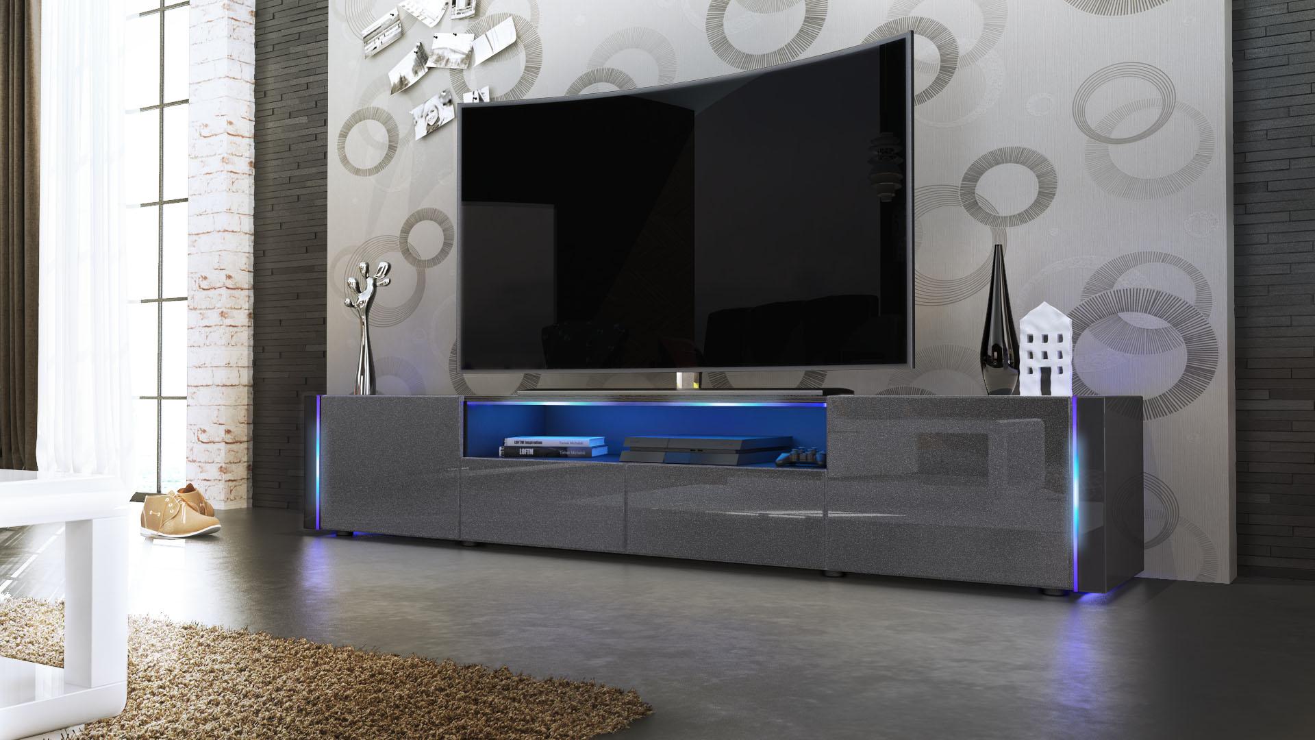 tv lowboard board schrank tisch marino v2 in schwarz hochglanz naturt ne ebay. Black Bedroom Furniture Sets. Home Design Ideas