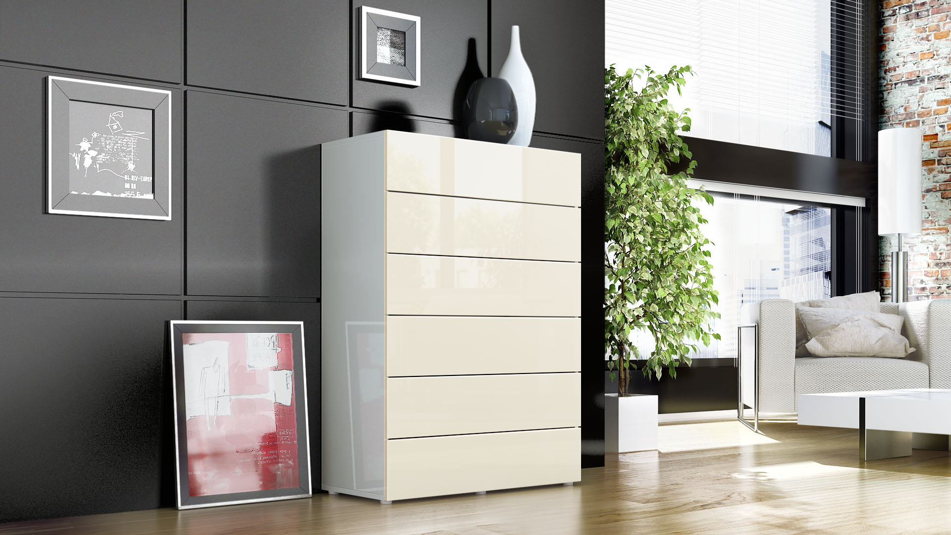 kommode schrank anrichte sideboard massa v3 in wei hochglanz naturt ne ebay. Black Bedroom Furniture Sets. Home Design Ideas