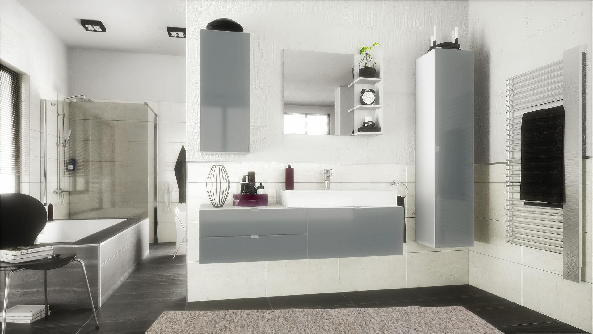 badezimmer set wei hochglanz h ngeschrank unterschrank. Black Bedroom Furniture Sets. Home Design Ideas