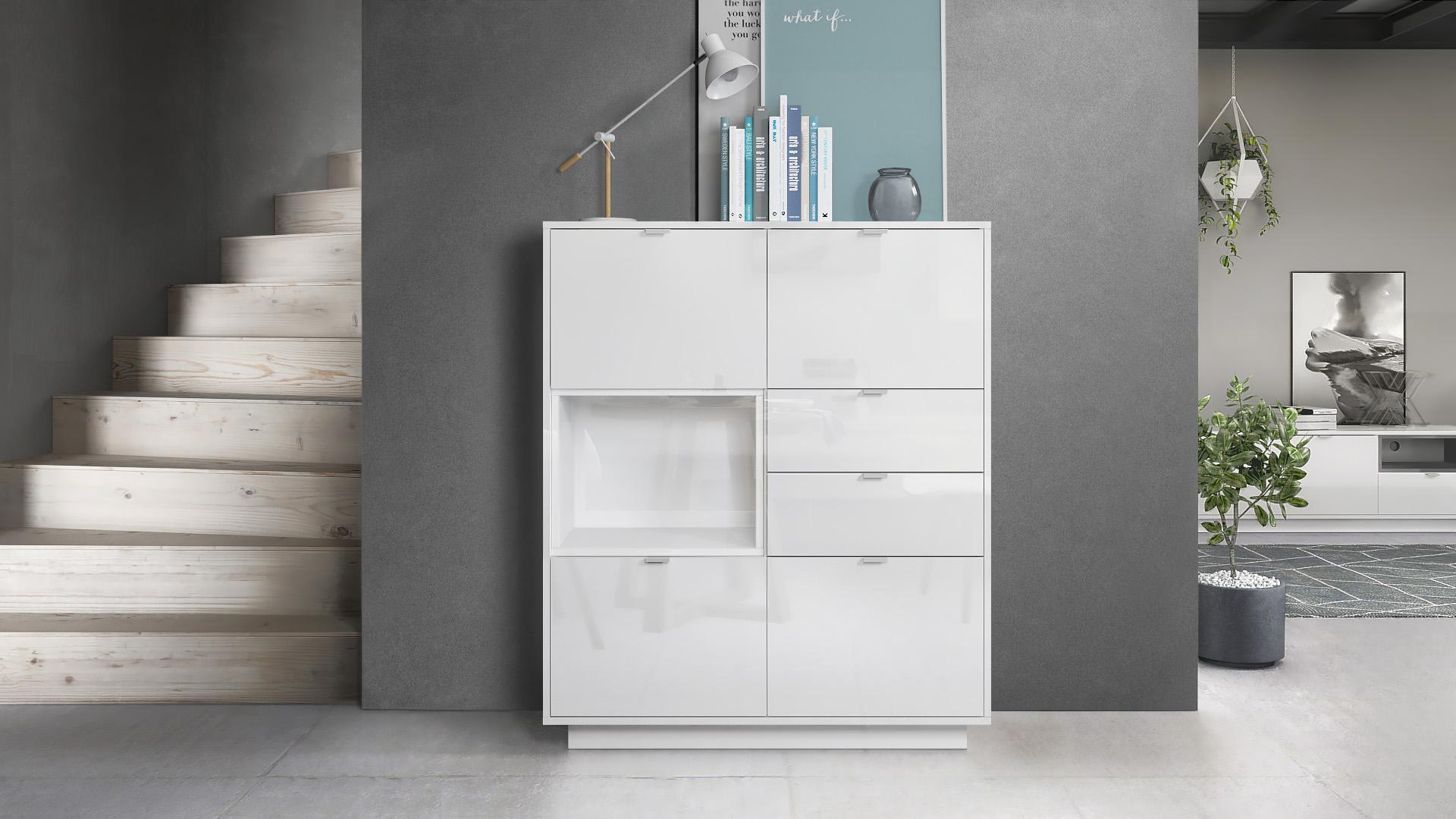 highboard metro schrank sideboard kommode anrichte wei. Black Bedroom Furniture Sets. Home Design Ideas