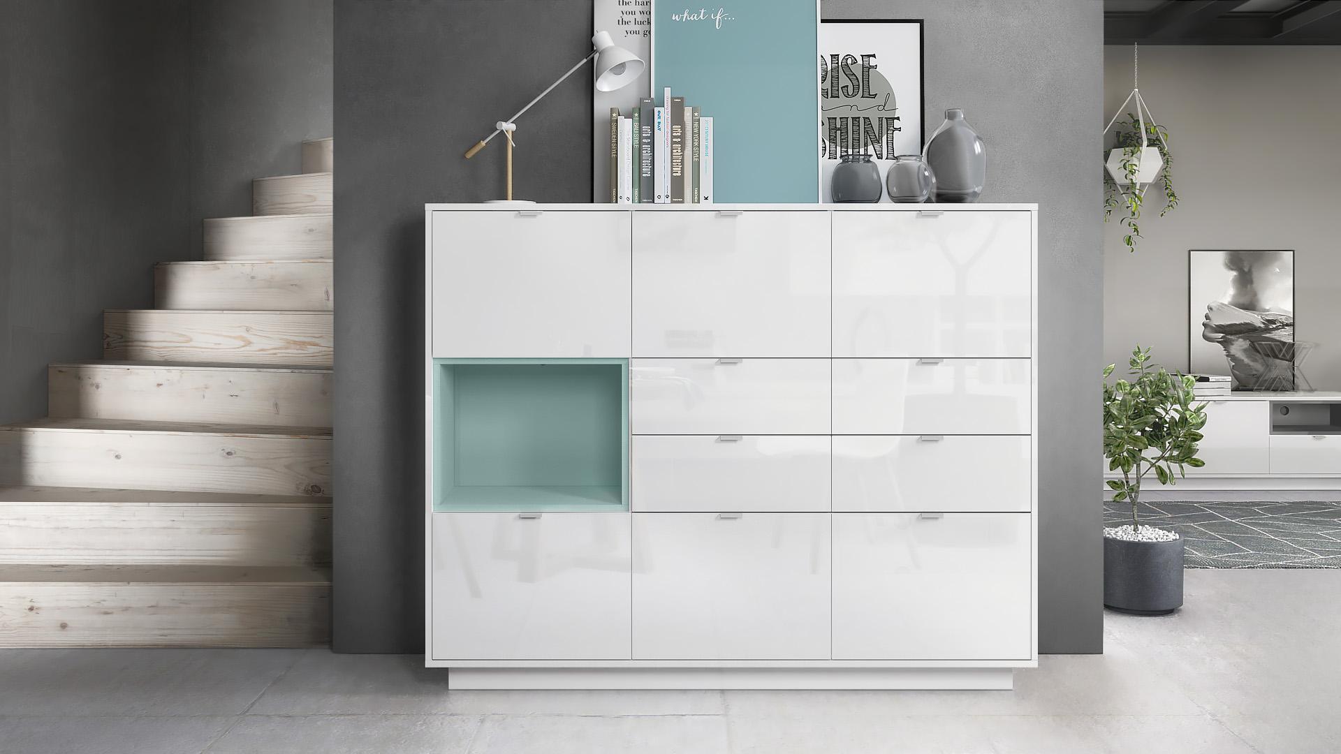 Highboard metro v2 sideboard cabinet cupboard white high for Sideboard petrol
