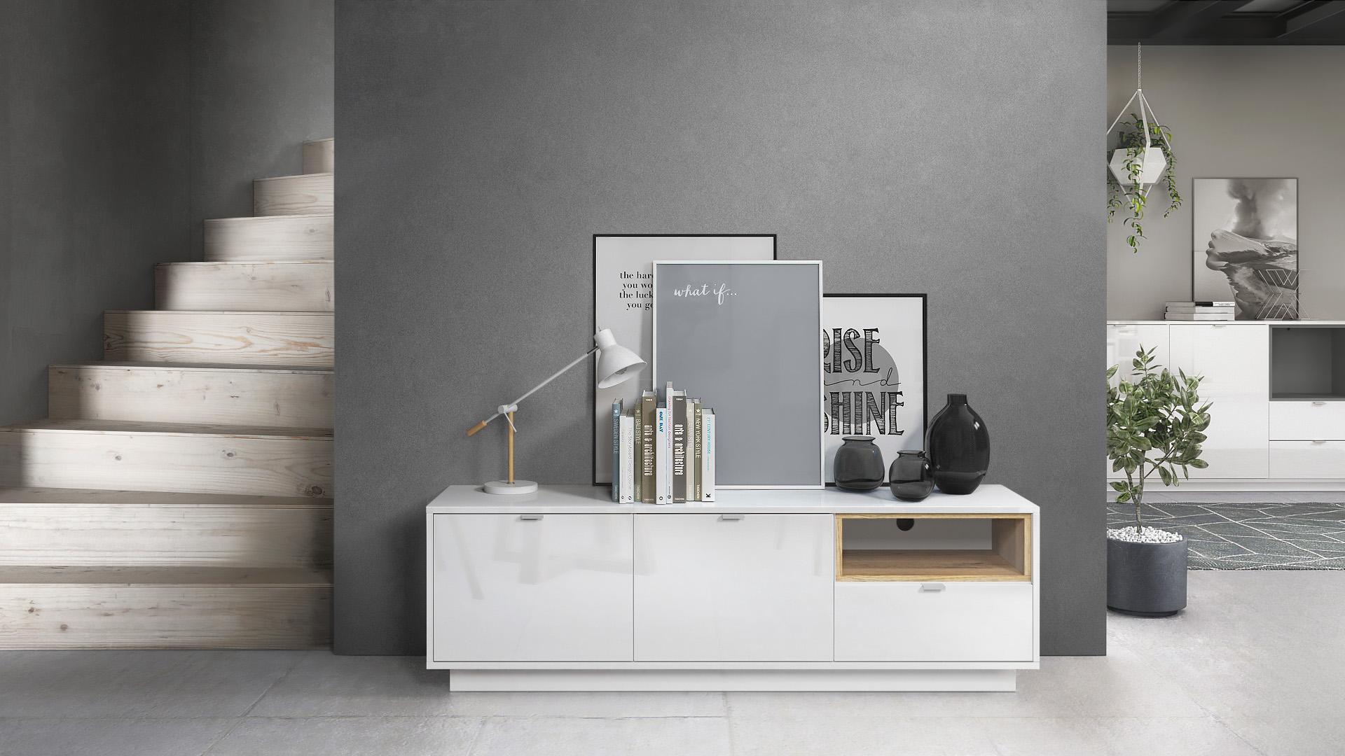 tv board metro lowboard rack fernsehtisch m bel wei hochglanz einsatz farbig ebay. Black Bedroom Furniture Sets. Home Design Ideas