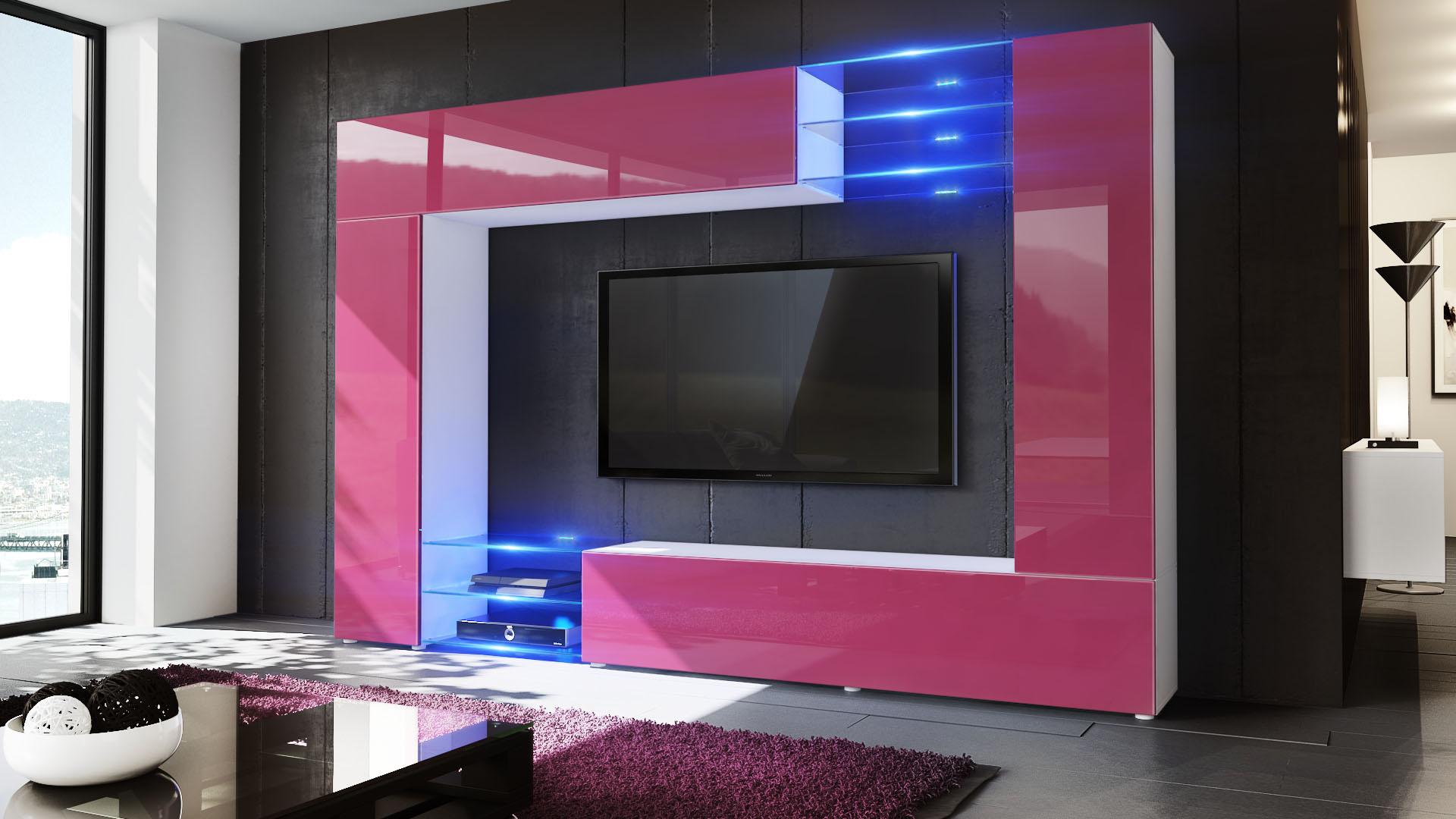 Wohnwand Schrankwand Anbauwand Mirage In Weiss Hochglanz Amp  Design Ideas