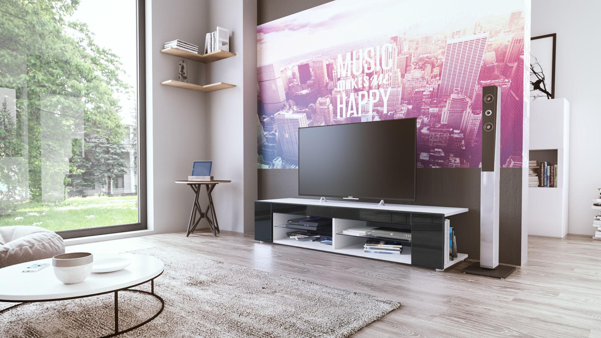 fernsehtisch tv lowboard m bel schrank movie wei matt hochglanz holzoptik ebay. Black Bedroom Furniture Sets. Home Design Ideas