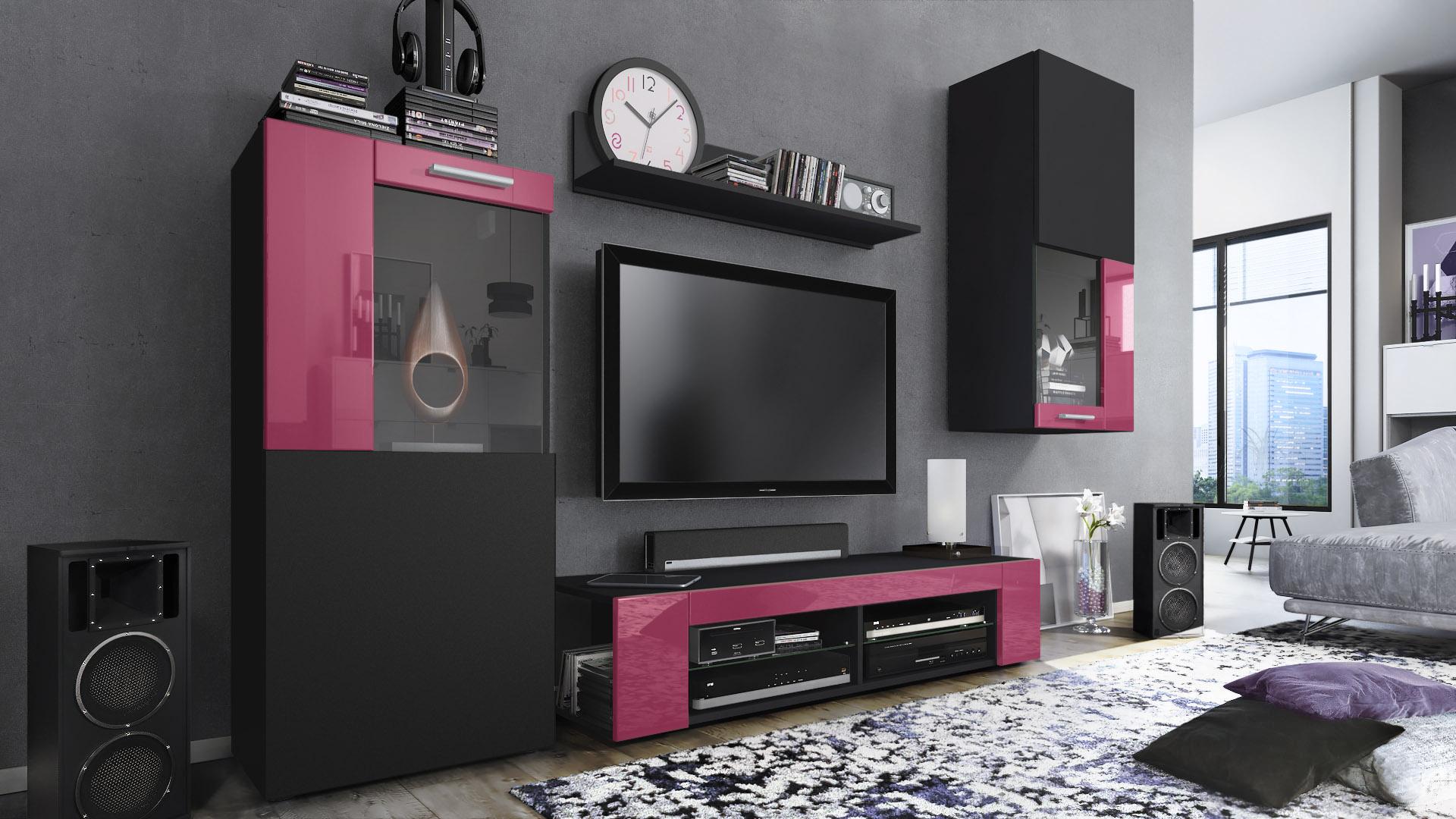 Wohnwand Anbauwand Fernsehwand Wohnzimmer Hochglanz Front Schwarz Glaenzend