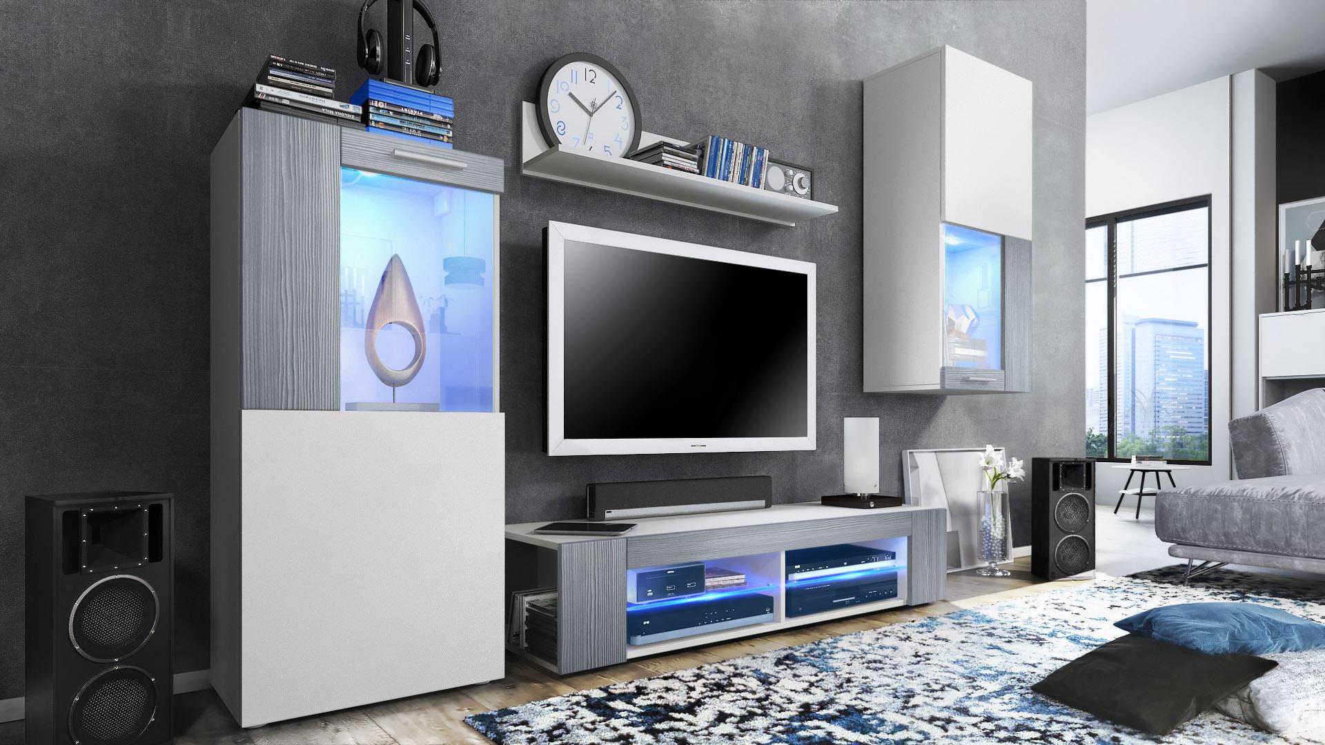 Combinaison Murale Vitrine Meuble Tv Armoire Basse Movie Blanc  # Combinaison Murale Meuble Tv