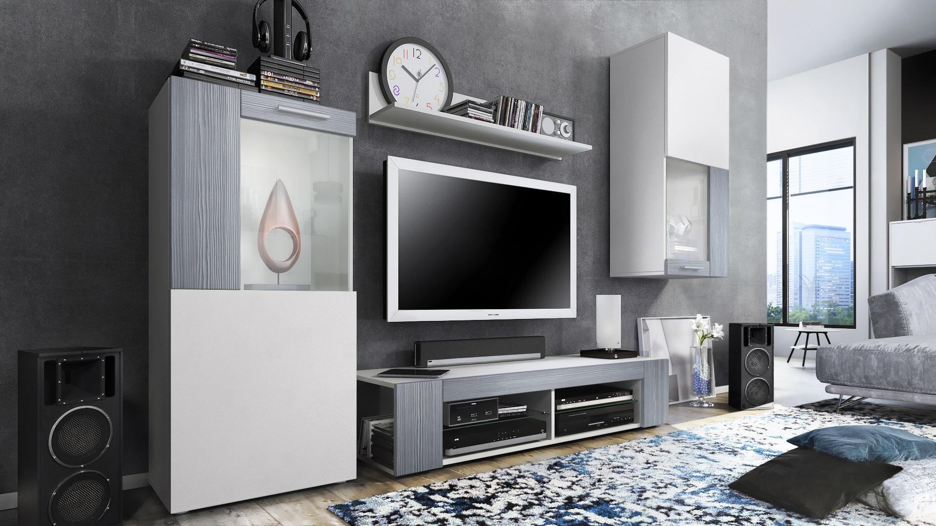 Combinaison Murale Vitrine Meuble Tv Armoire Basse Movie Blanc  # Armoire Basse Tele