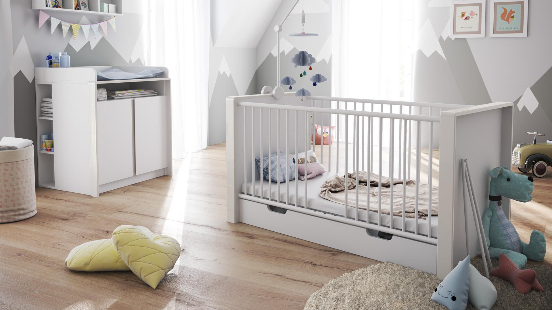 Chambre bébé enfant Ensemble complèt Lit Table à langer Nandini Set ...