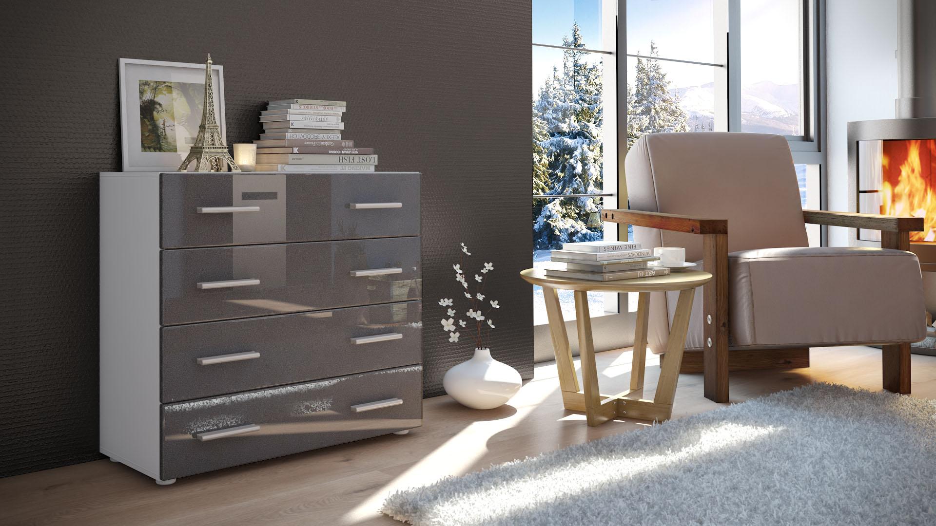 kommode schrank anrichte sideboard pavos in wei hochglanz naturt ne ebay. Black Bedroom Furniture Sets. Home Design Ideas