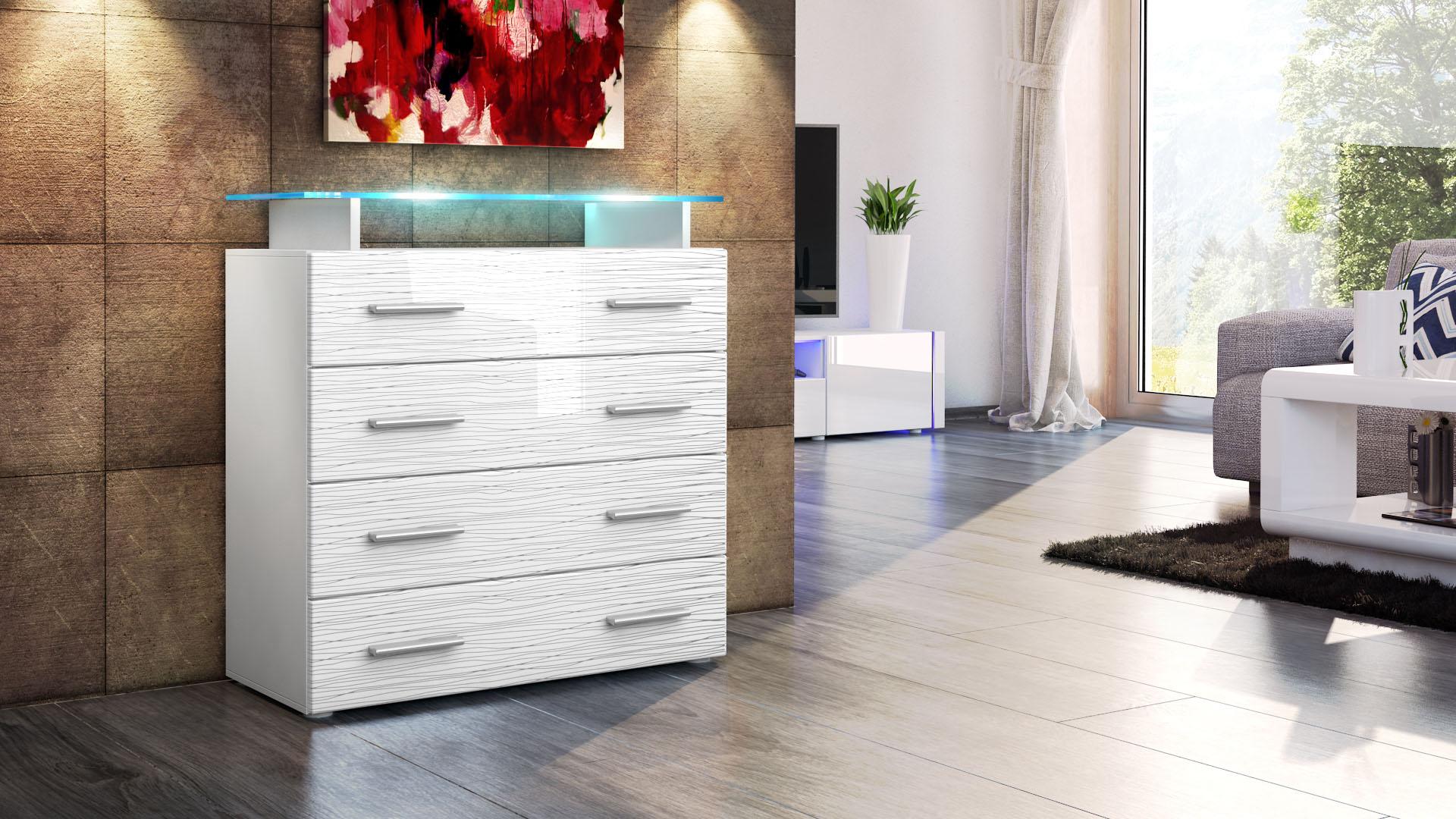 kommode sideboard pavos v2 in wei und schwarz silverline limited edition ebay. Black Bedroom Furniture Sets. Home Design Ideas