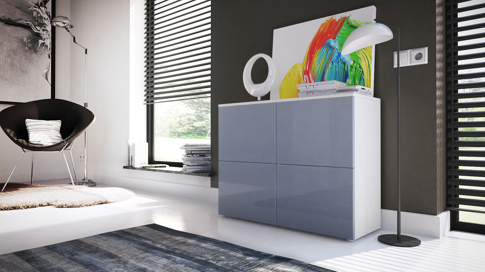 kommode schrank anrichte sideboard highboard regal rova wei hochglanz ebay. Black Bedroom Furniture Sets. Home Design Ideas
