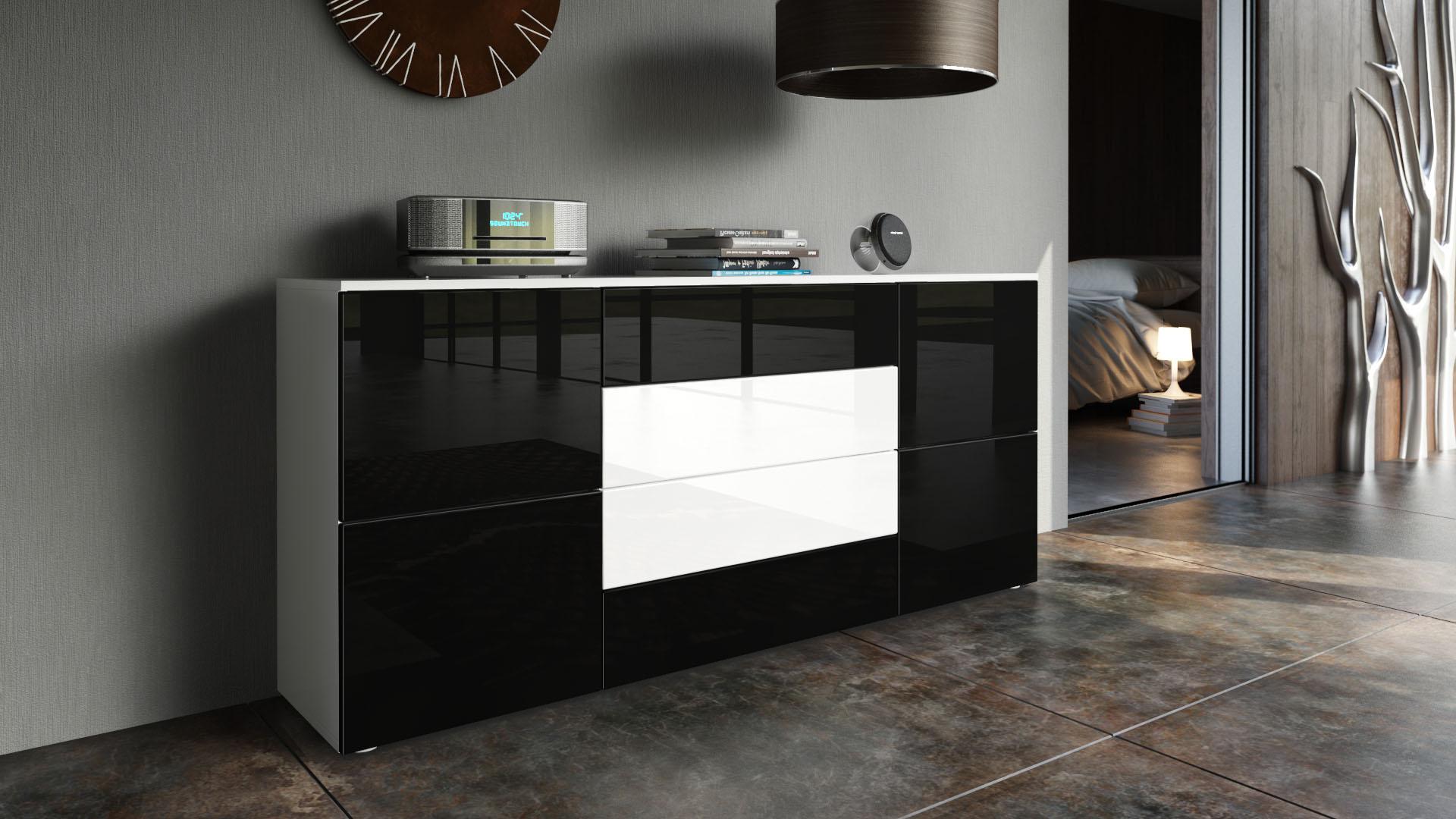 sideboard anrichte schrank kommode rova tv m bel wei matt hochglanz holzoptik ebay. Black Bedroom Furniture Sets. Home Design Ideas