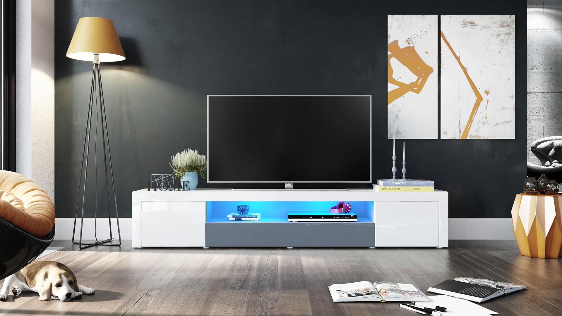 tv lowboard board fernsehtisch schrank 200cm kommode santiago v2 wei hochglanz ebay. Black Bedroom Furniture Sets. Home Design Ideas