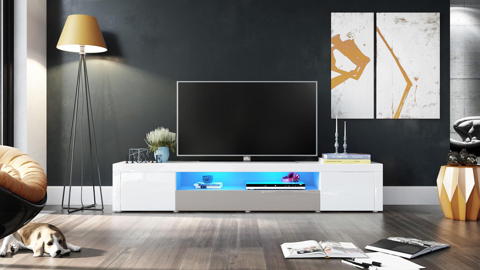 tv lowboard board fernsehtisch schrank 200cm kommode. Black Bedroom Furniture Sets. Home Design Ideas