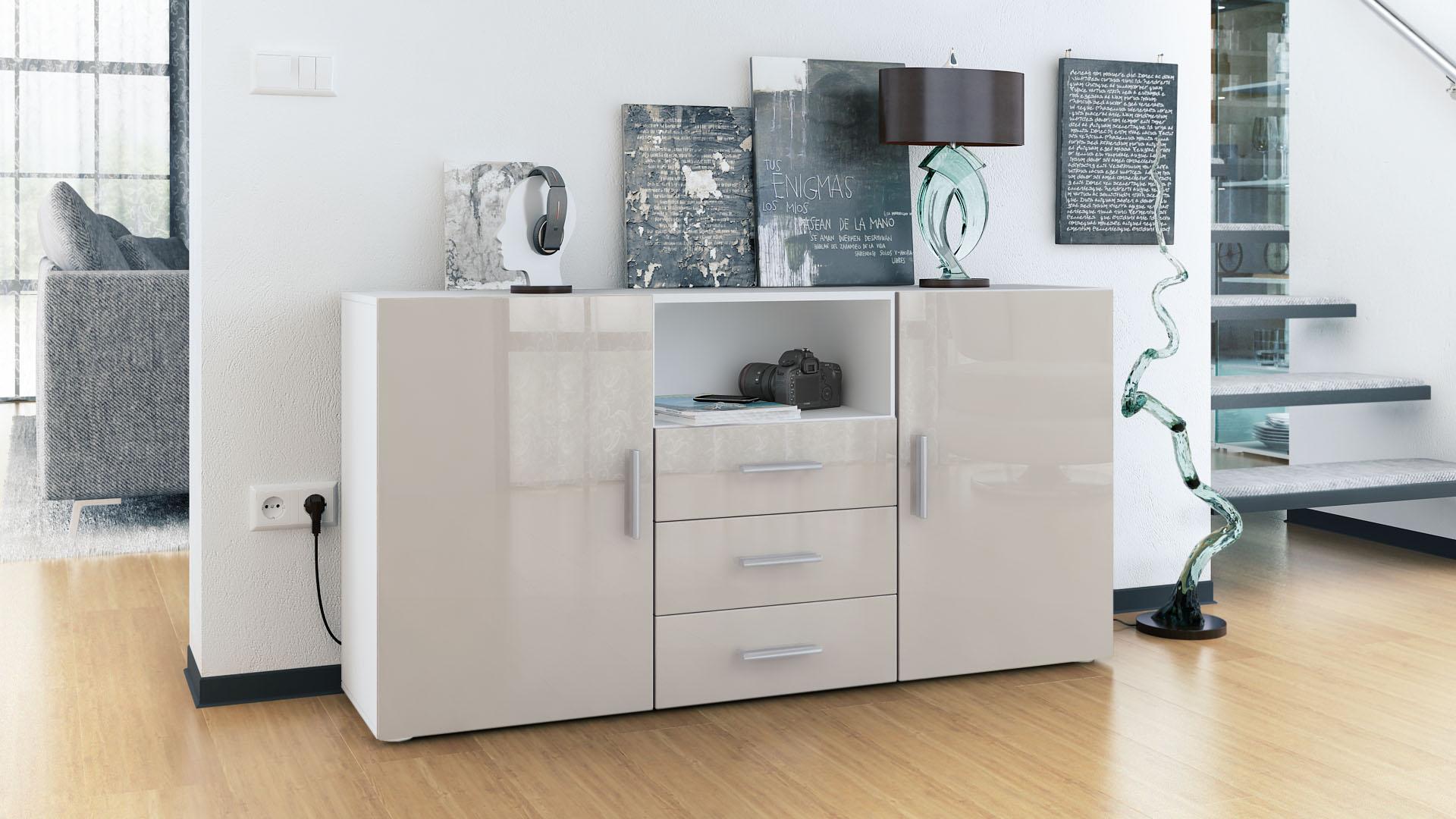 sideboard tv board anrichte schrank m bel schublade kommode skadu wei hochglanz ebay. Black Bedroom Furniture Sets. Home Design Ideas