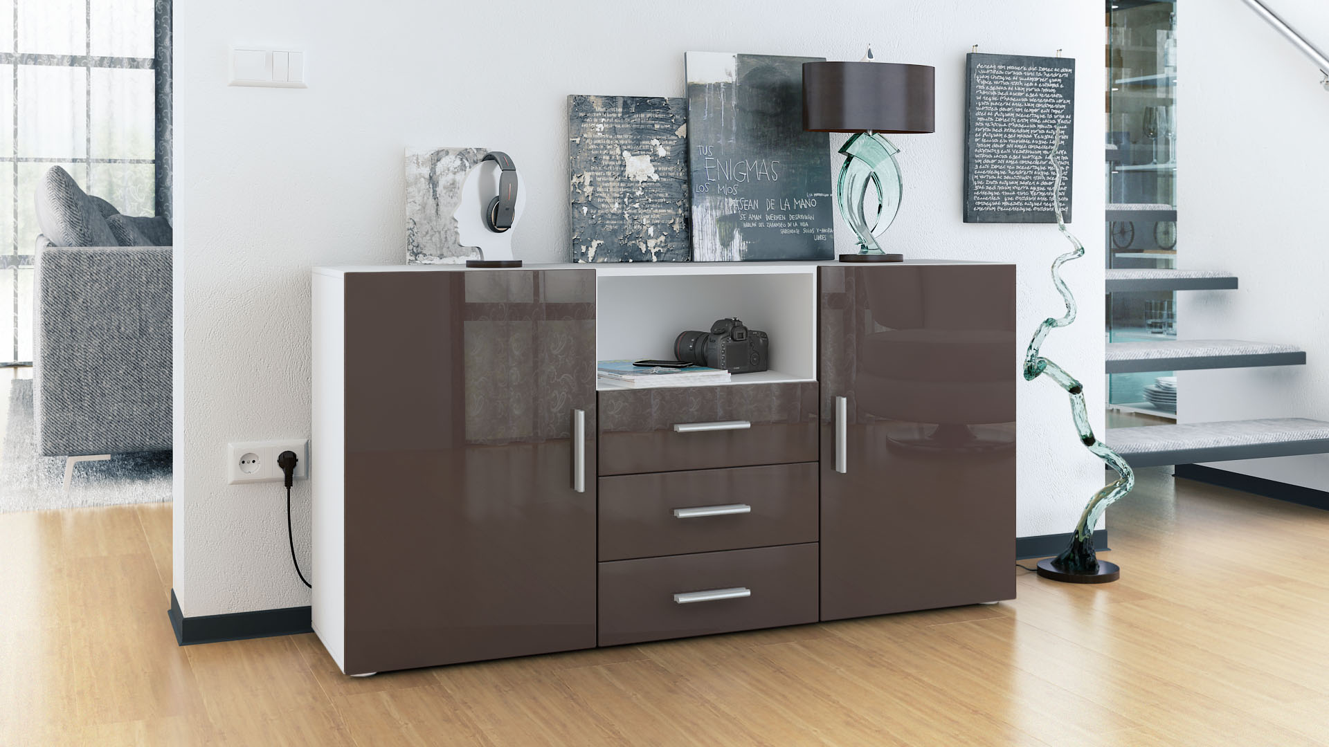 sideboard tv board anrichte schrank m bel schublade kommode skadu wei hochglanz ebay. Black Bedroom Furniture Sets. Home Design Ideas