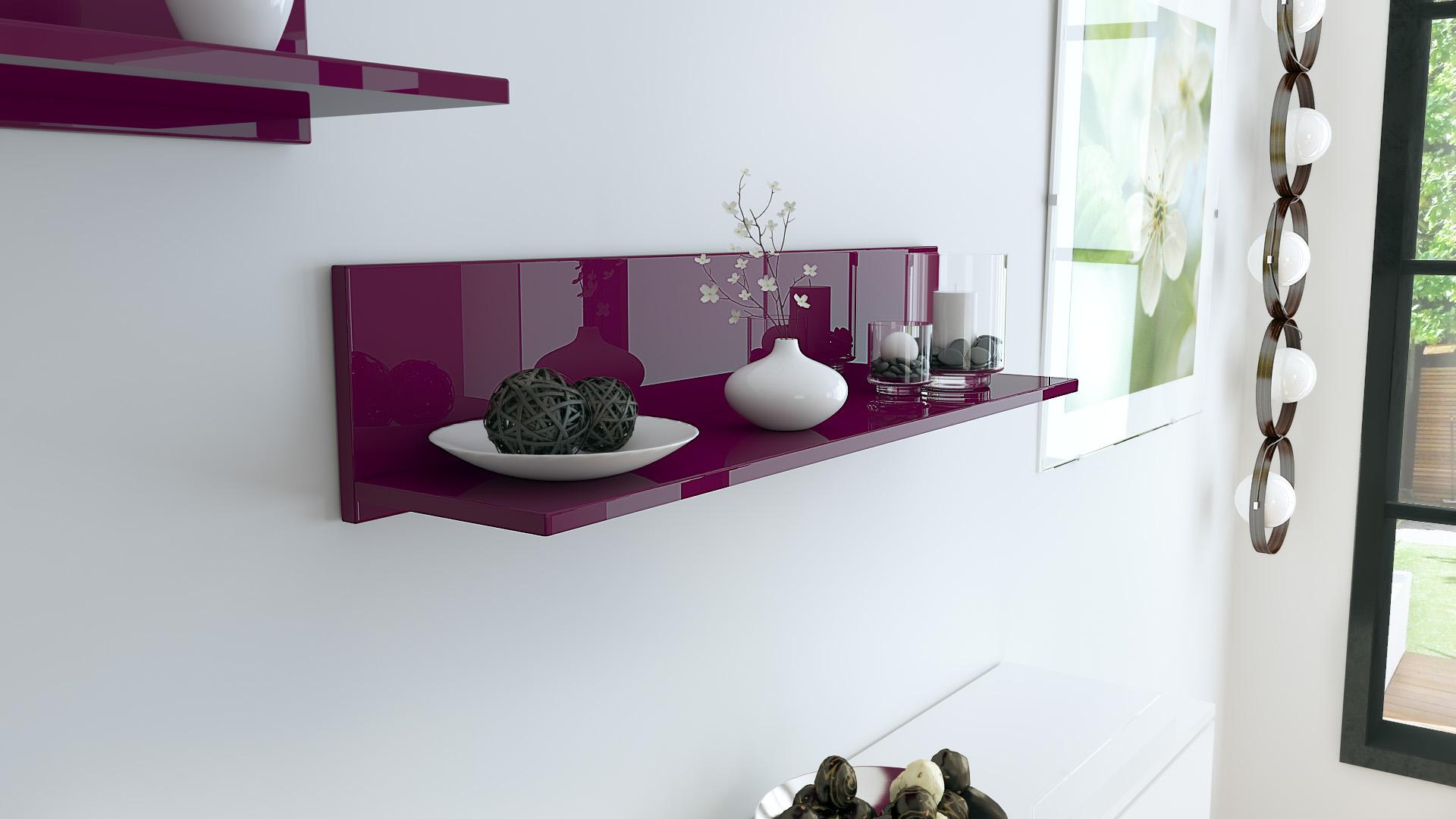 shelf wall mounted wooden shelf skadu high gloss natural tones ebay. Black Bedroom Furniture Sets. Home Design Ideas