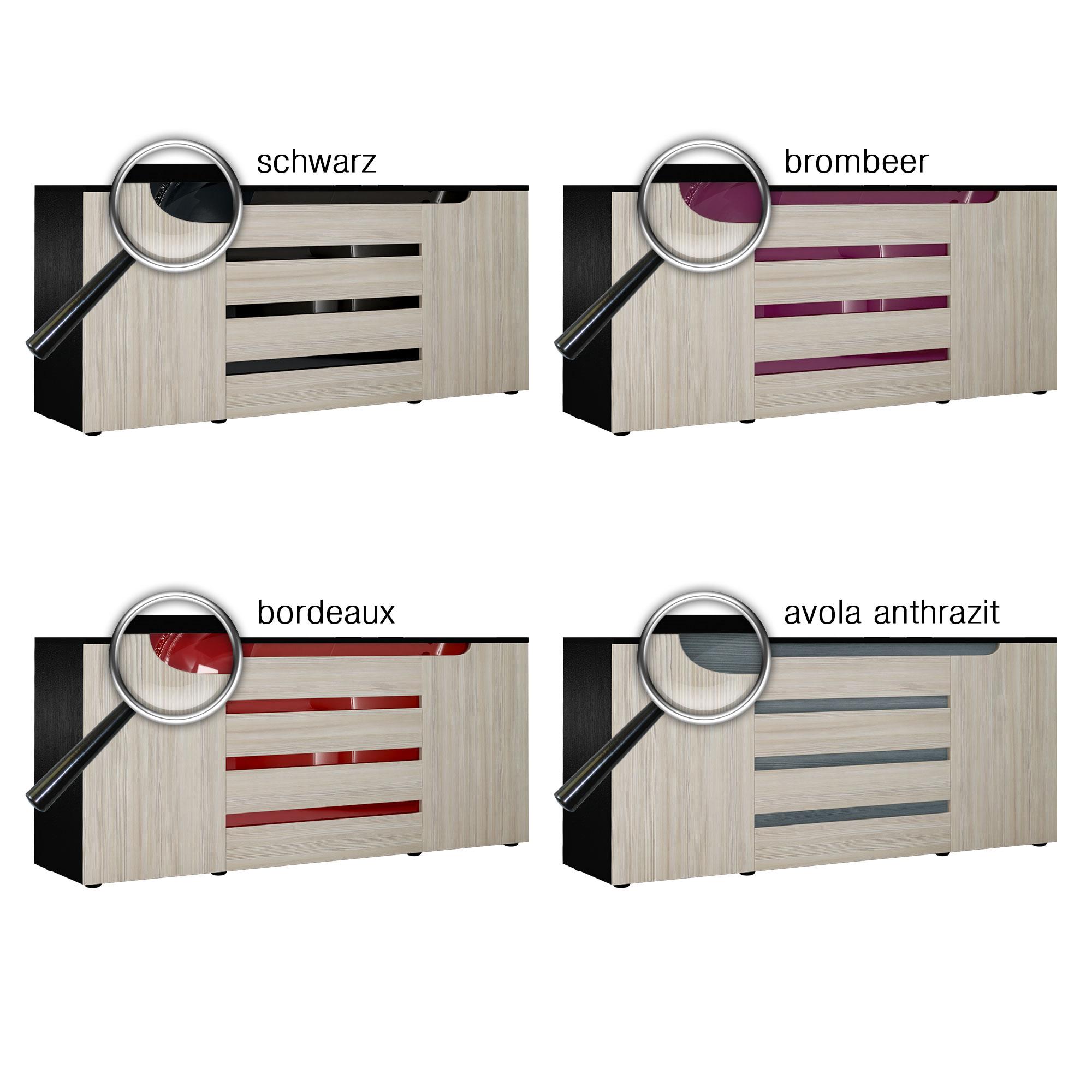 sideboard kommode sylt v2 166 cm 2 t ren 4 sk schwarz matt. Black Bedroom Furniture Sets. Home Design Ideas