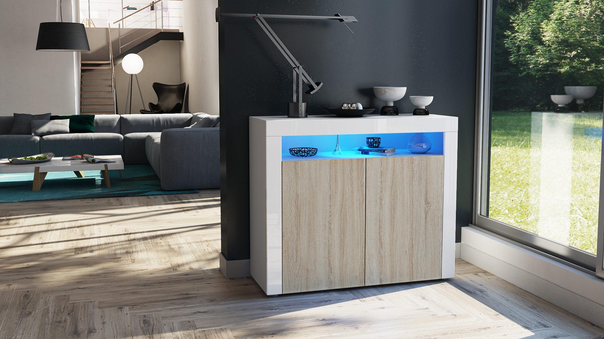 kommode sideboard anrichte wohnzimmerschrank valencia wei hochglanz ebay. Black Bedroom Furniture Sets. Home Design Ideas