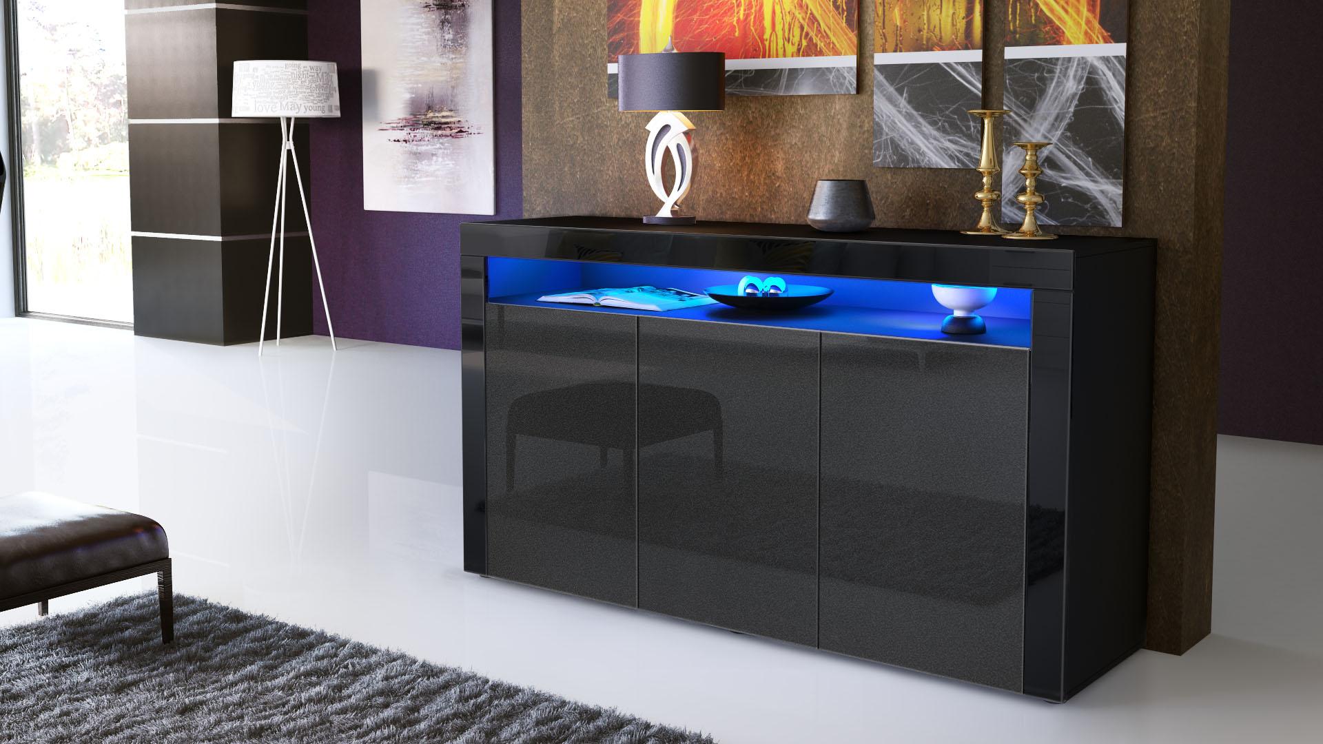 sideboard kommode anrichte highboard valencia in schwarz hochglanz naturt ne ebay. Black Bedroom Furniture Sets. Home Design Ideas