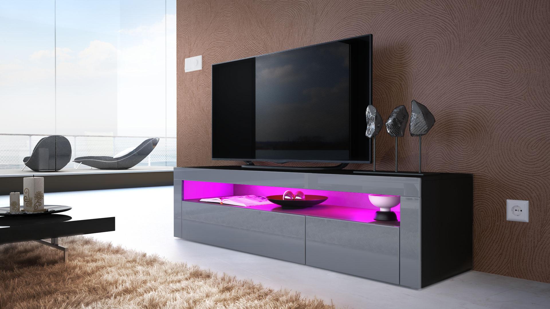 tv board lowboard unterschrank rack valencia in schwarz hochglanz naturt ne ebay. Black Bedroom Furniture Sets. Home Design Ideas