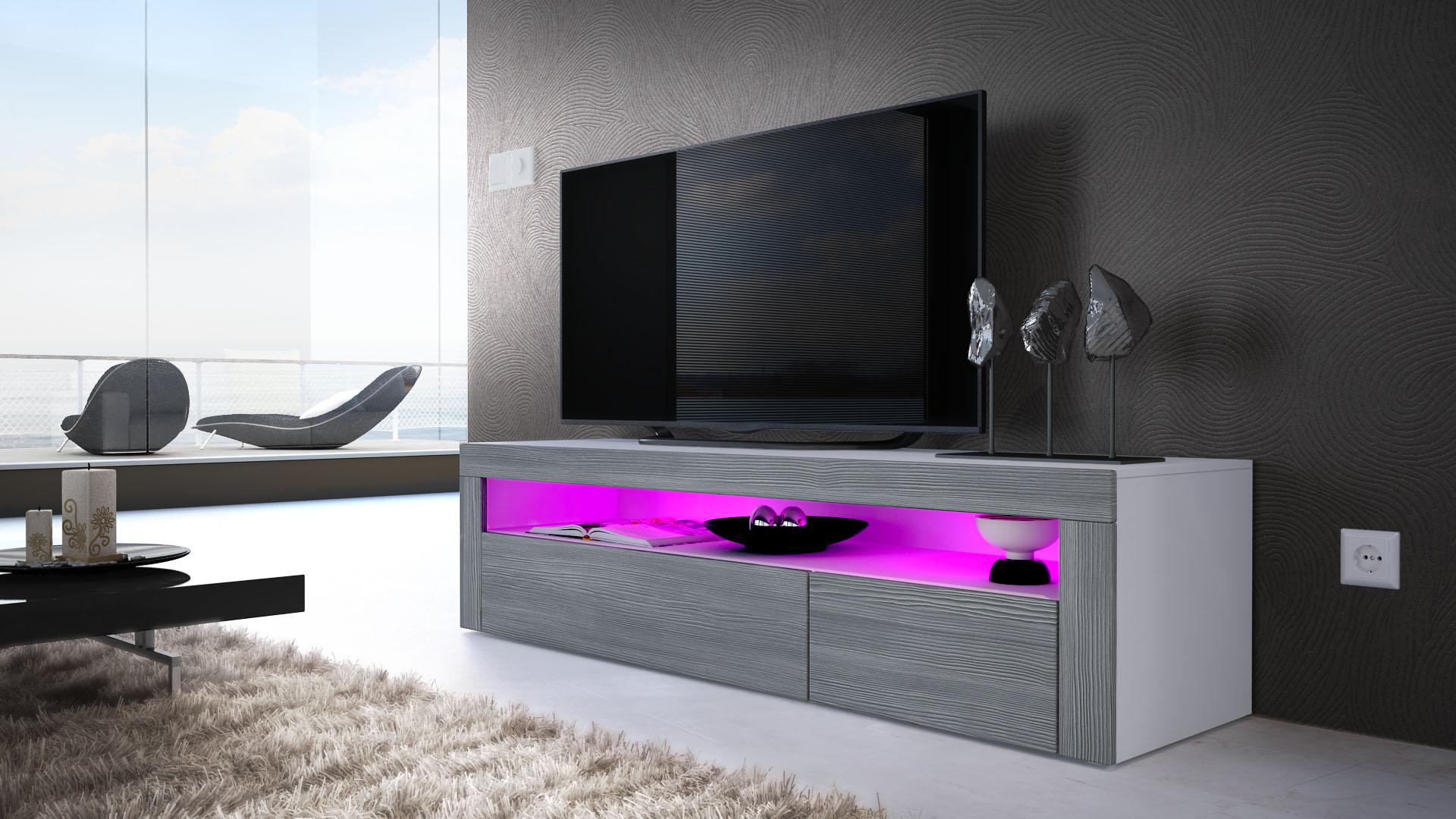 tv board lowboard unterschrank sideboard valencia in wei. Black Bedroom Furniture Sets. Home Design Ideas