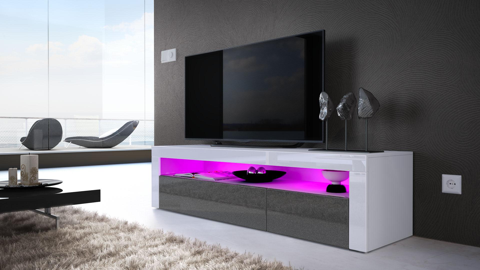 tv board lowboard unterschrank sideboard valencia in wei hochglanz naturt ne ebay. Black Bedroom Furniture Sets. Home Design Ideas