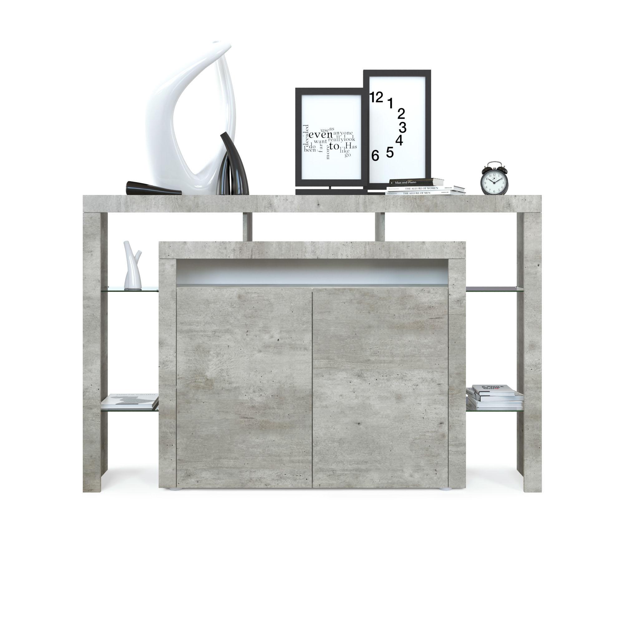 highboard sideboard kommode hochglanz rosario 160 wei schwarz beton ebay. Black Bedroom Furniture Sets. Home Design Ideas