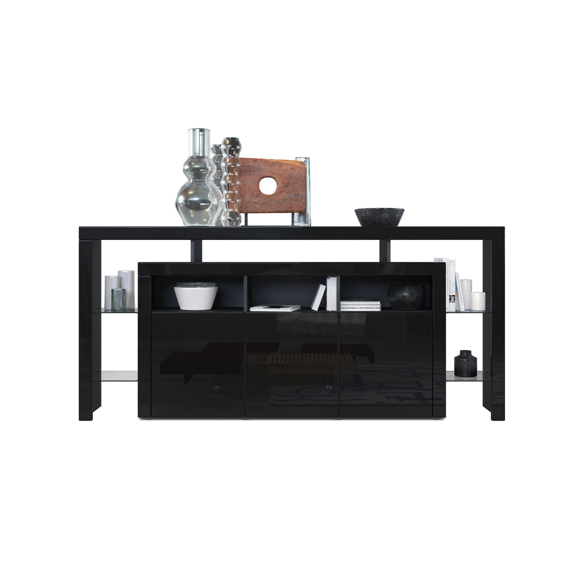 sideboard kommode anrichte highboard rosario 192 wei schwarz hochglanz beton ebay. Black Bedroom Furniture Sets. Home Design Ideas
