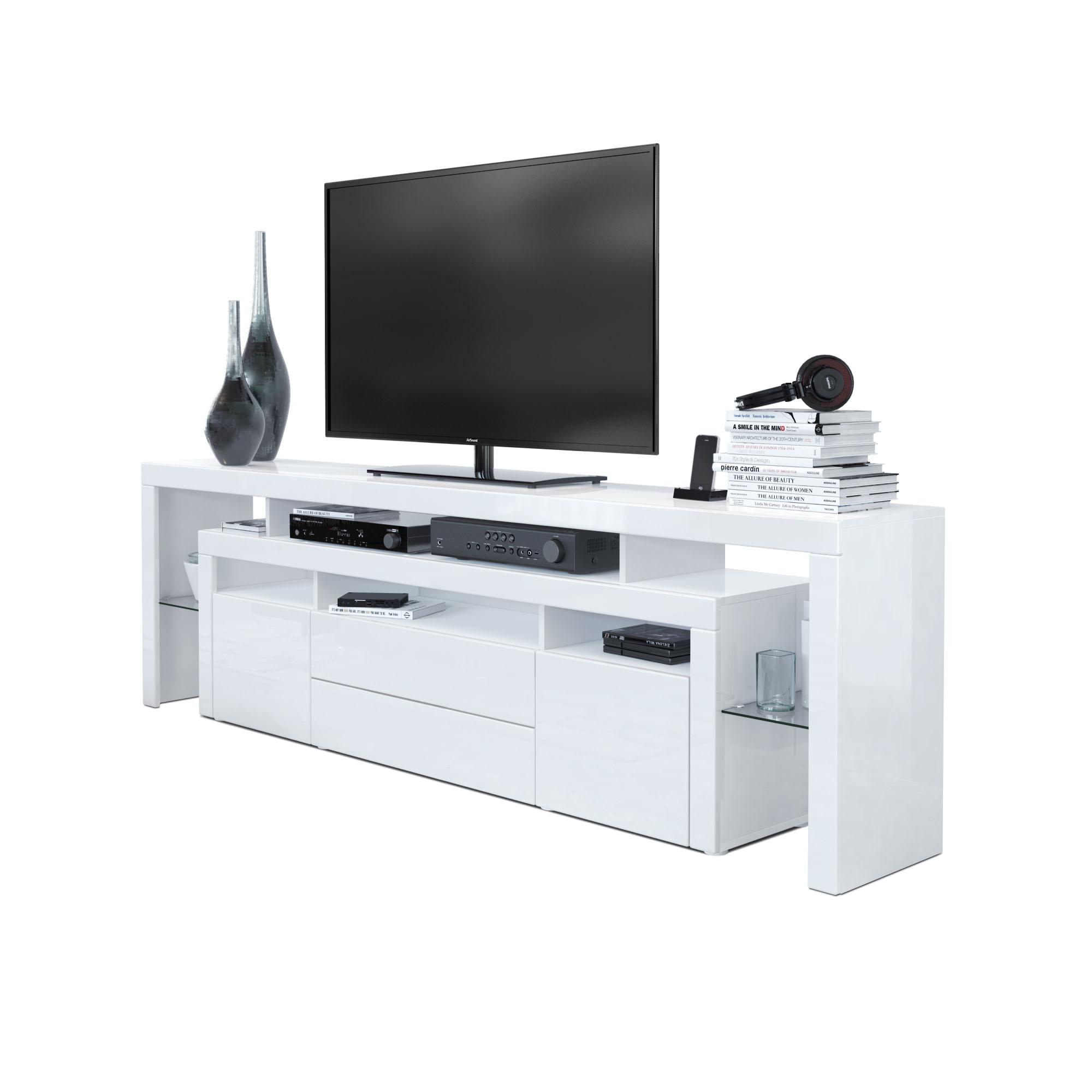 tv lowboard board schrank m bel rosario 220 in wei schwarz hochglanz beton ebay. Black Bedroom Furniture Sets. Home Design Ideas